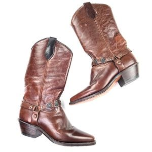 Vintage   Genuine Leather Cowboy Boots Brown